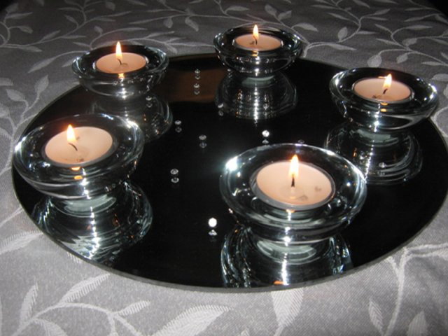 Mirror Centrepiece and Silver Glass Tealight Holders